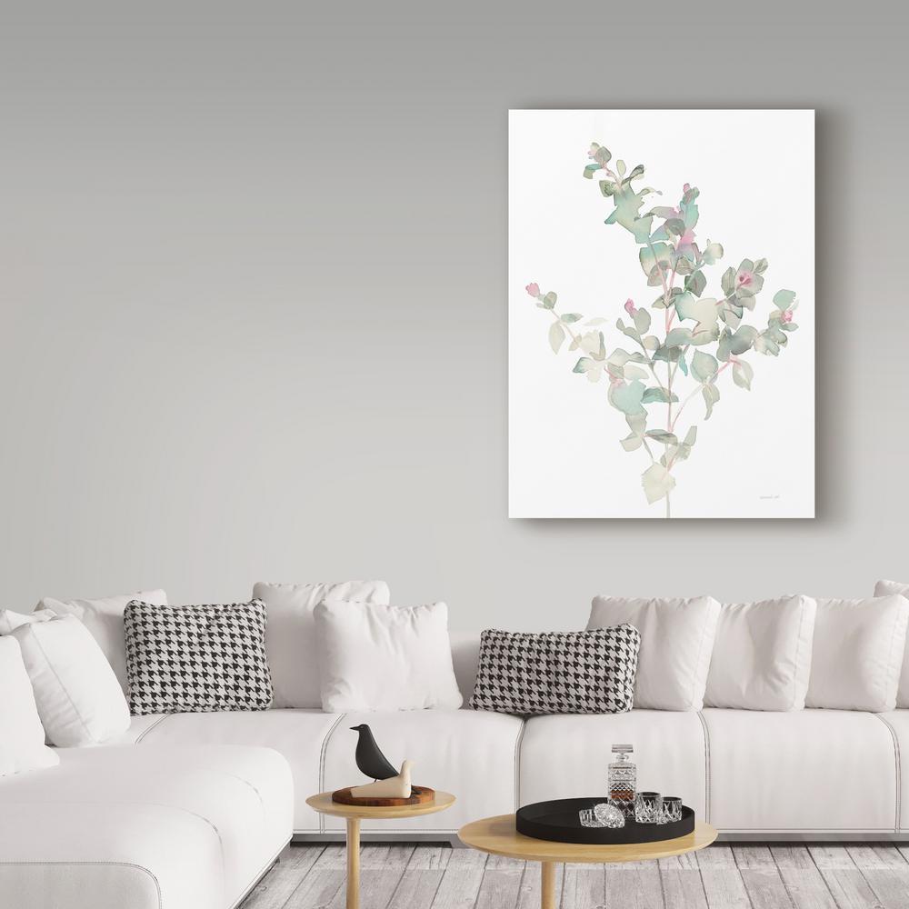 "47 in. x 35 in. ""Eucalyptus II White"" by Danhui Nai Printed Canvas Wall Art"