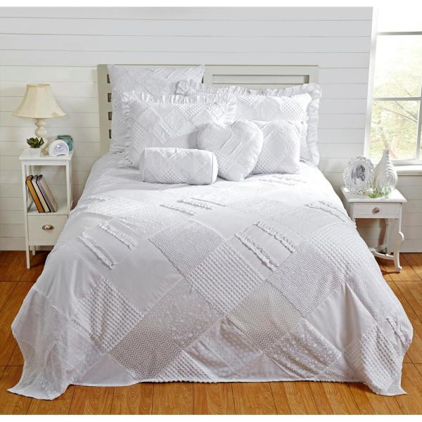 Better Trends Ruffle Chenille 102 in. x 110 in. Queen bed spread white