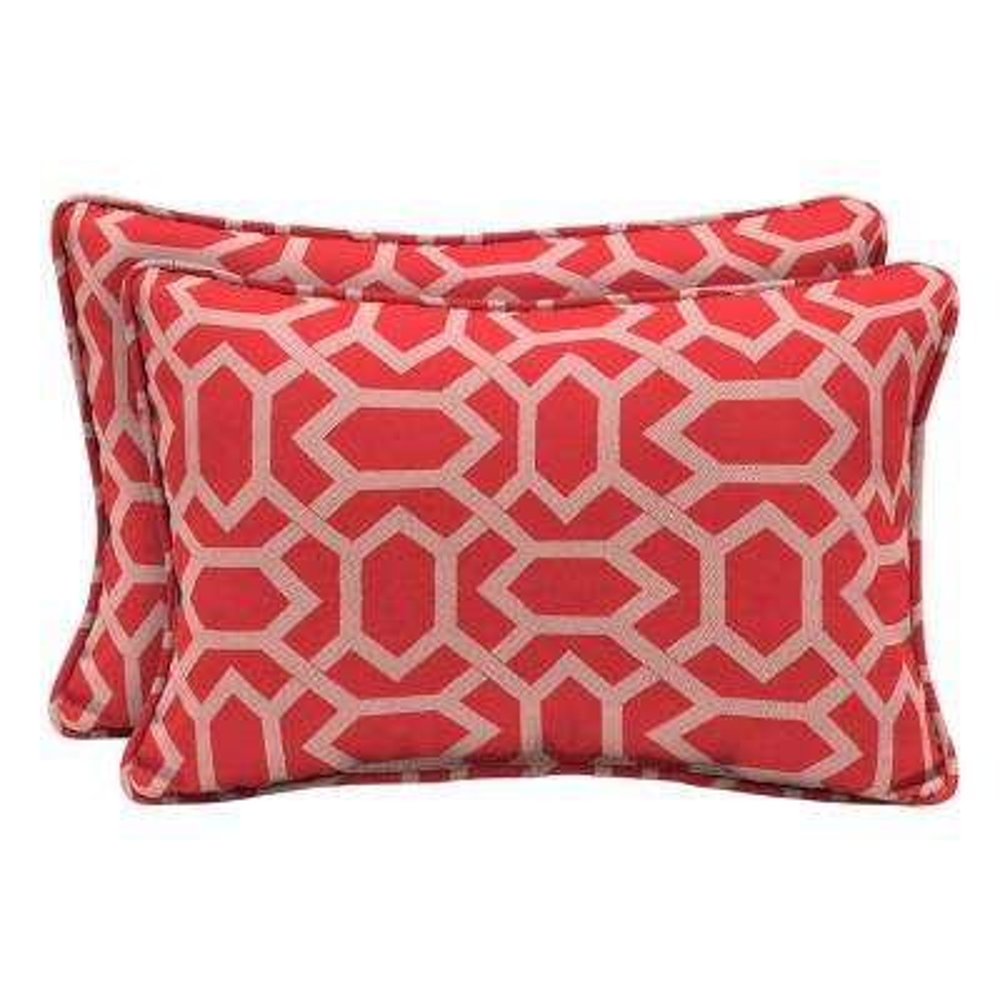 CushionGuard Ruby Hex Lumbar Outdoor Throw Pillow (2-Pack)
