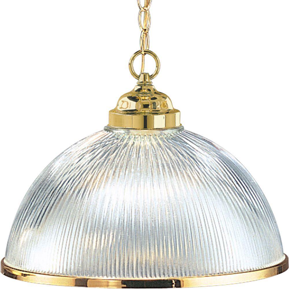 Progress Lighting 1-Light Polished Brass Pendant