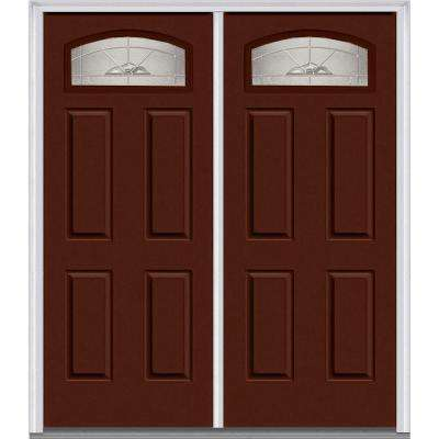 64 in. x 80 in. Master Nouveau Right-Hand 1/4 Lite 4-Panel Classic Painted Steel Prehung Front Door