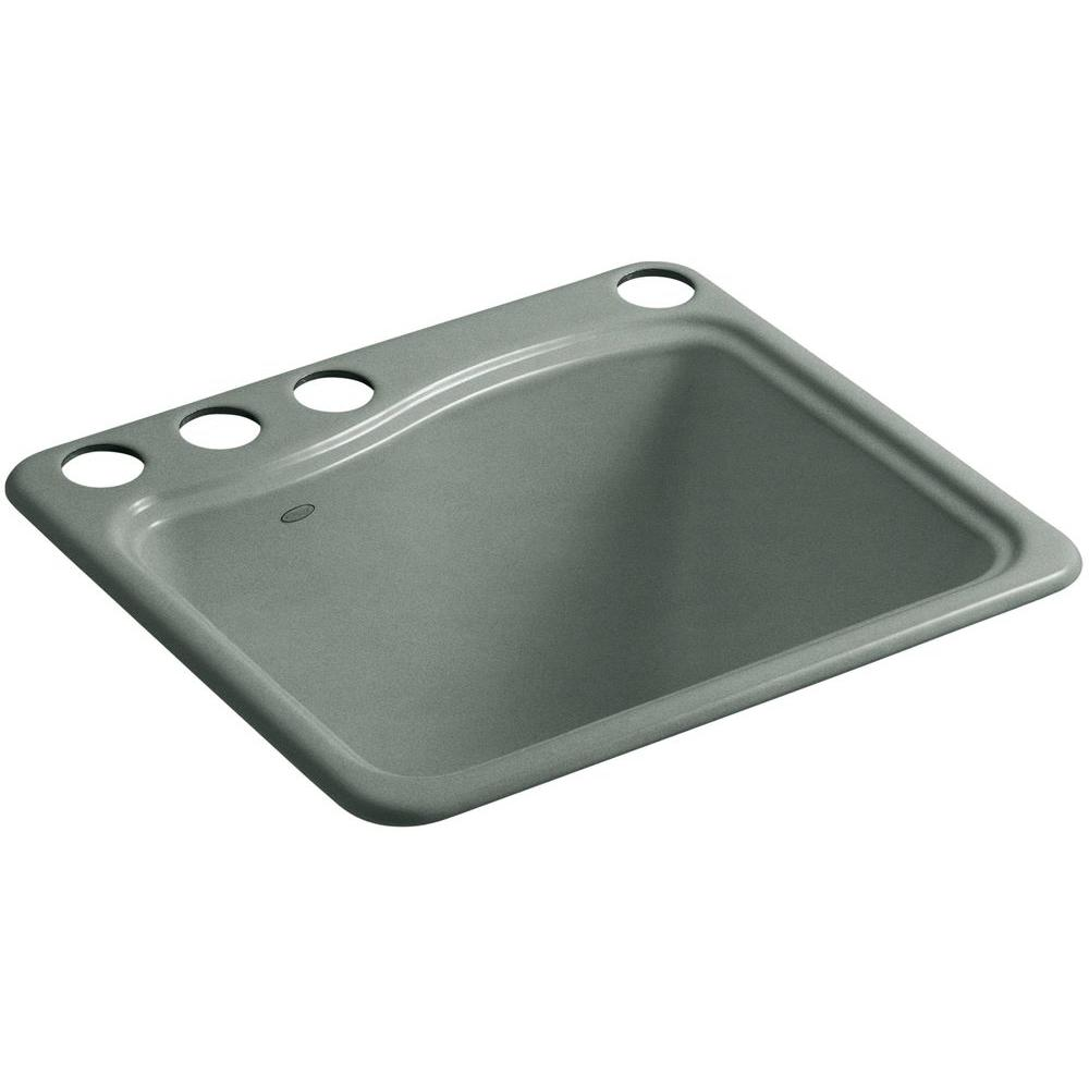 KOHLER River Falls 22 in. x 25 in. Cast Iron Utility Sink in Basalt