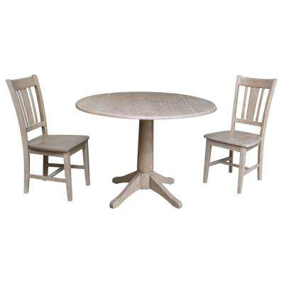 Olivia 3-Piece Weathered Taupe Drop-leaf Dining Set with 2-San Remo Chairs