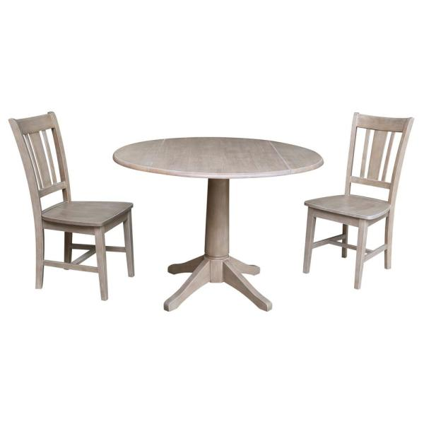 Olivia 3-Piece 42 in. Gray Taupe Round Drop-Leaf Wood Dining Set with San Remo Chairs