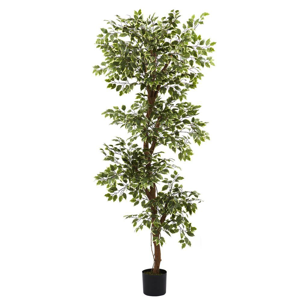 Nearly Natural 6 ft. Variegated Ficus Tree