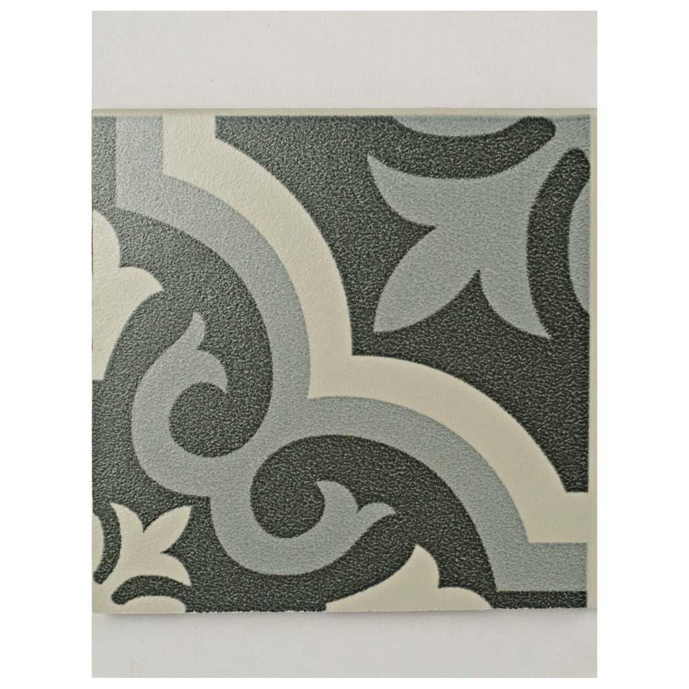 Braga Black Encaustic Ceramic Floor and Wall Tile - 3 in. x 4 in. Tile Sample