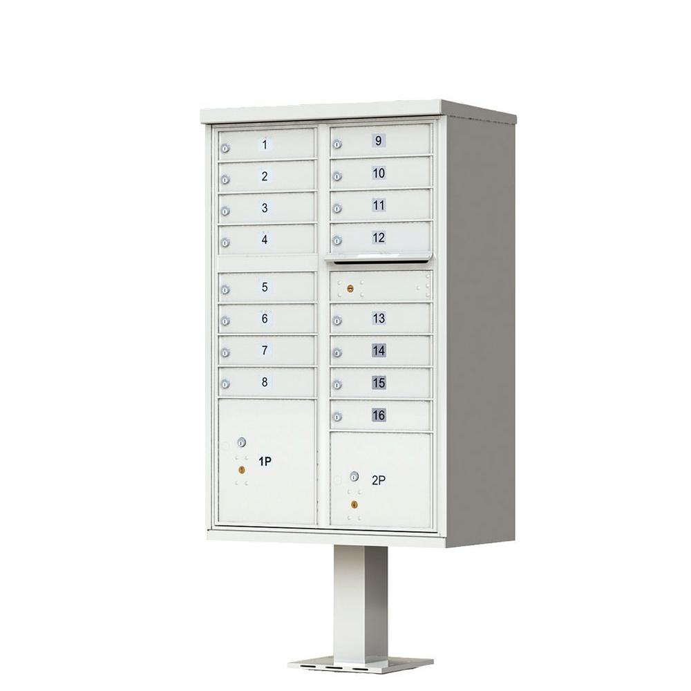 16 Mailboxes 1 Outgoing Mail Compartment 2 Parcel Lockers Pedestal Mount