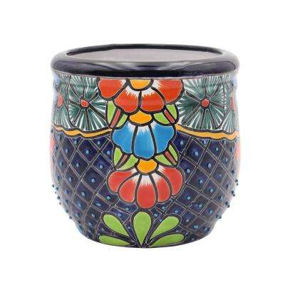 Talavera 9 in. Blue Ceramic Decorative Planter