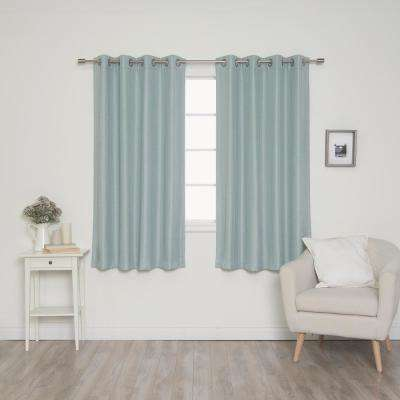 Woven Faux Linen Grommet Curtains with Blackout Lining