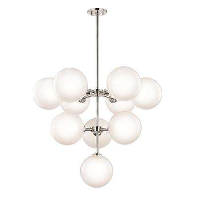 Ashleigh 10-Light Polished Nickel LED Chandelier with Clear Glass Outside Etched Glass Inside