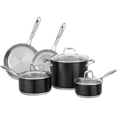 8-Piece Stainless Steel Cookware Set in Onyx Black