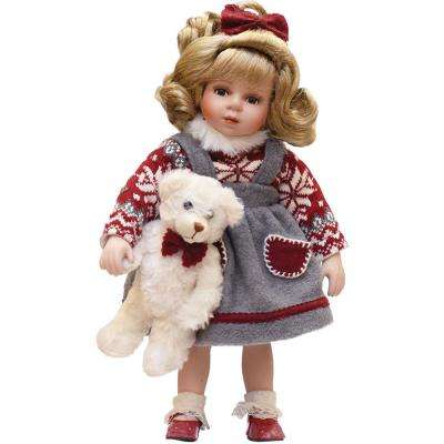 14.5 in. Porcelain Eileen with Teddy Bear Standing Collectible Christmas Doll