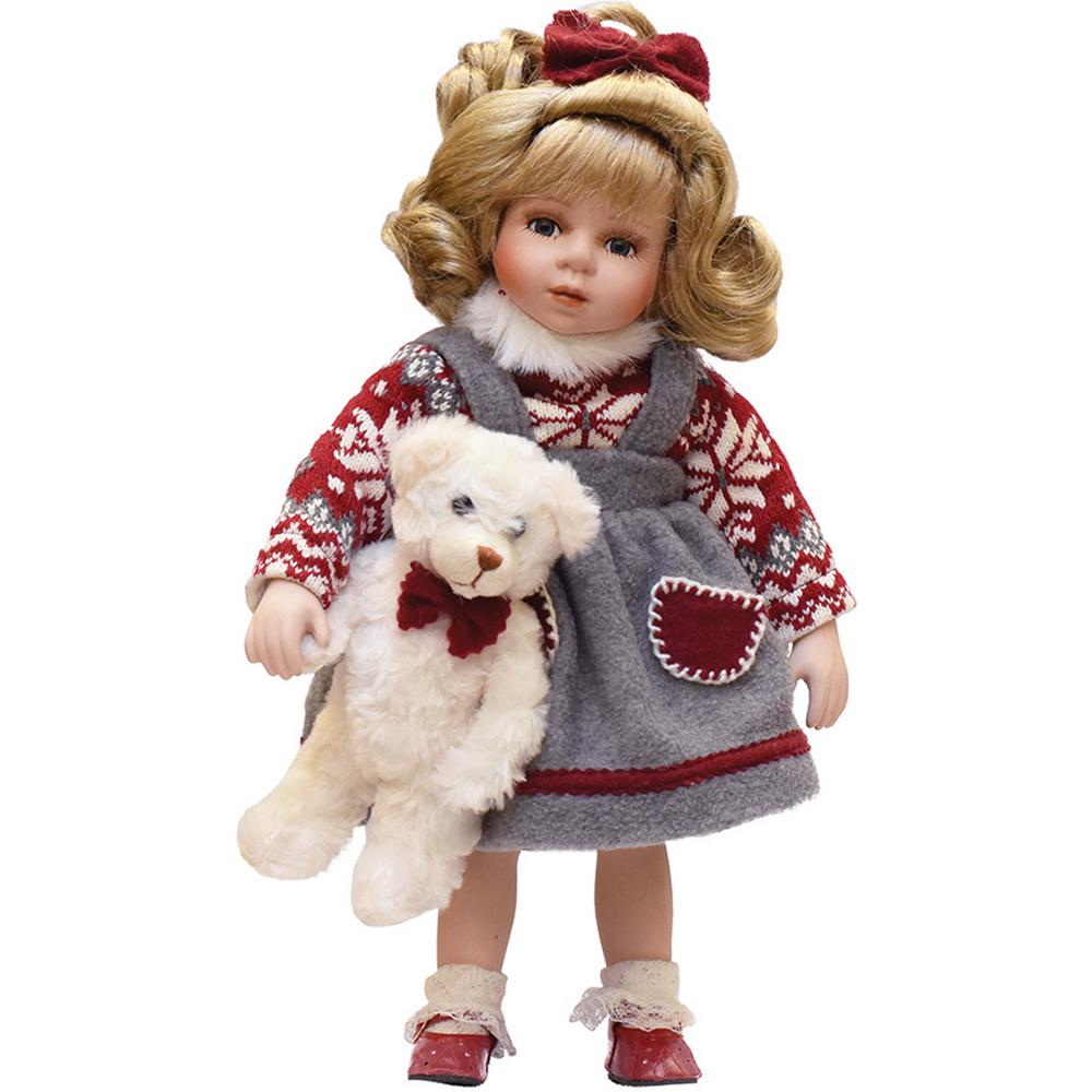 Northlight 7.7 in. Porcelain Eileen with Teddy Bear Standing Collectible  Christmas Doll