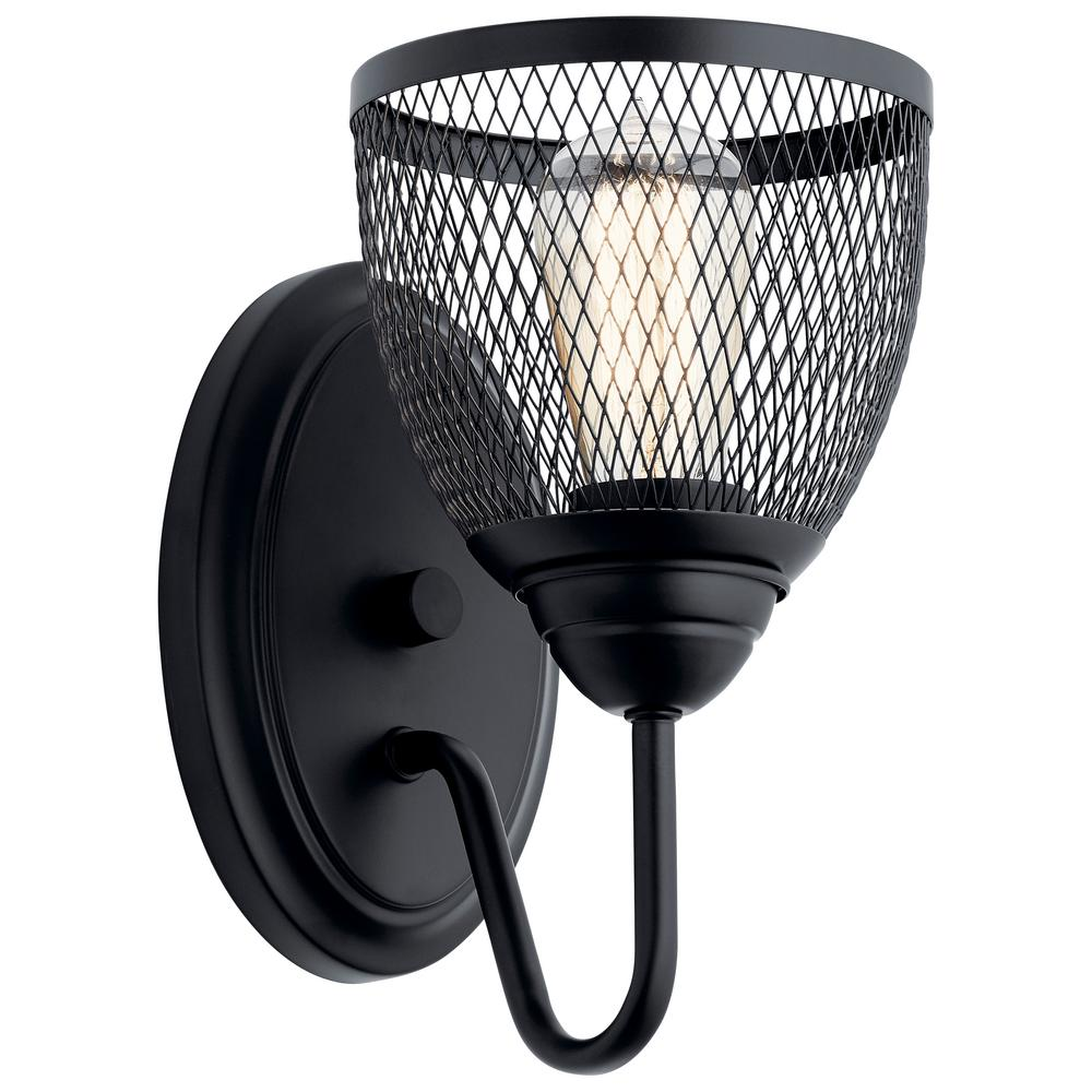 Voclain 1-Light Black Wall Sconce with Mesh Shade