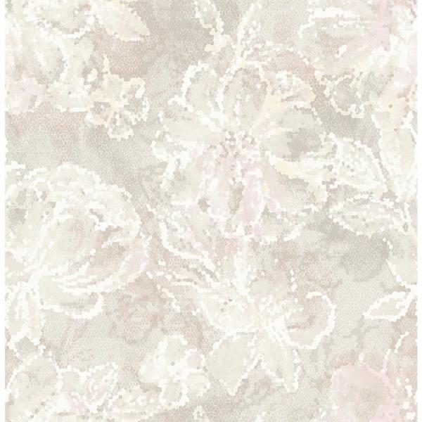 A-Street 8 in. x 10 in. Allure Blush Floral Wallpaper Sample