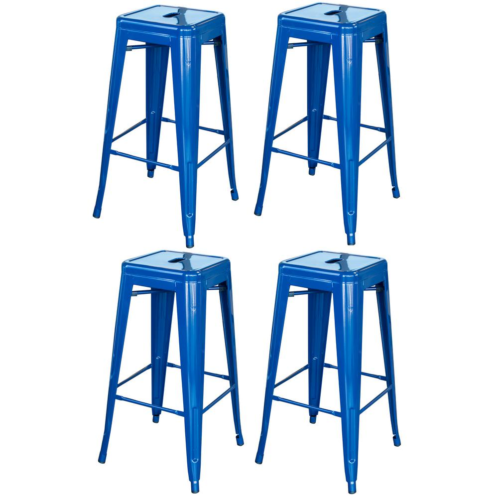 AmeriHome Loft Style 30 in. Stackable Metal Bar Stool in Blue (Set of 4) was $220.69 now $151.61 (31.0% off)
