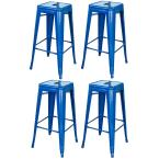 Loft Style 30 in. Stackable Metal Bar Stool in Blue (Set of 4)