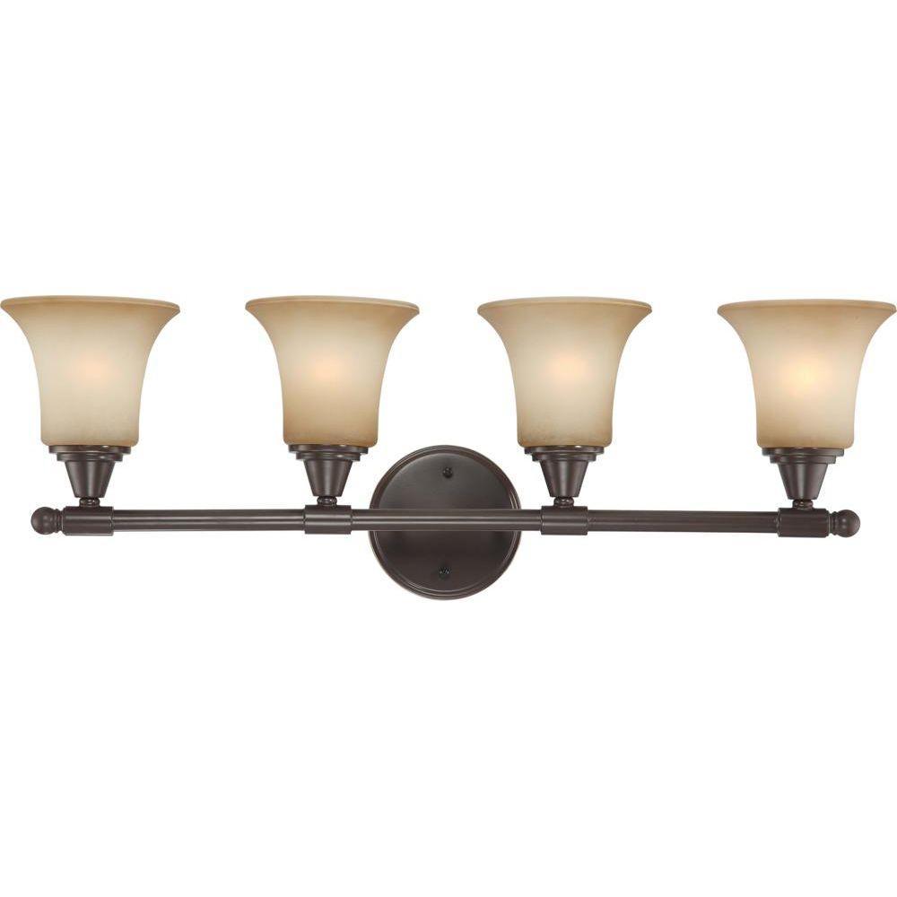4light vintage bronze vanity fixture with auburn beige glass