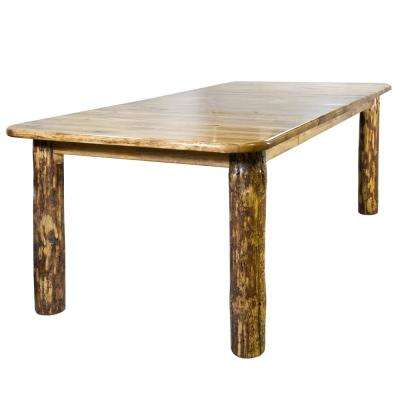 Glacier 1-Piece 4-Post Medium Brown Stain and Clear Lacquer Dining Table with Leaves