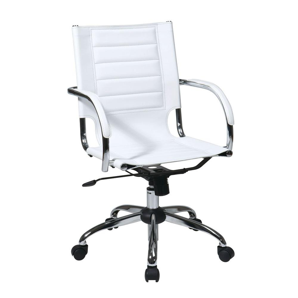 Ave Six Trinidad White Vinyl Office Chair