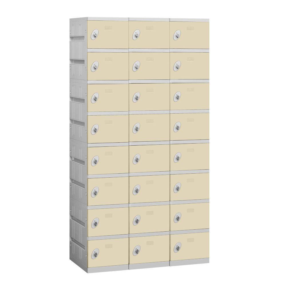 98000 Series 38.25 in. W x 74 in. H x 18 in. D 8-Tier Plastic Lockers Unassembled in Tan