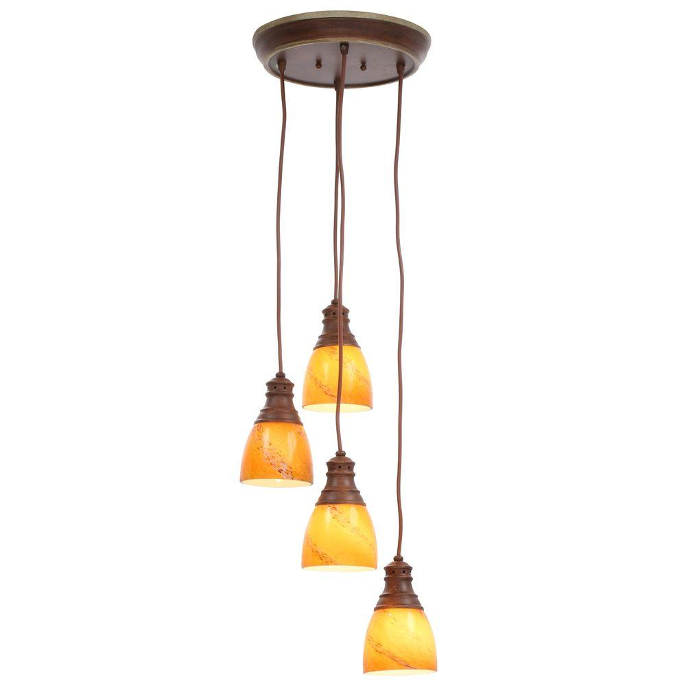 lighting for a kitchen hampton bay 4 light walnut pendant es3414wal the home depot 7031