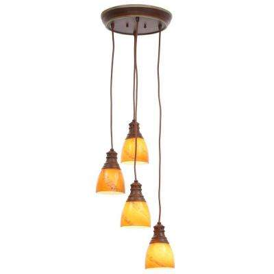 Hampton bay cluster pendant lights lighting the home depot 4 light walnut pendant aloadofball