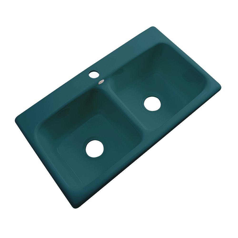 Thermocast Brighton Drop-In Acrylic 33 in. 1-Hole Double Bowl Kitchen Sink in Teal