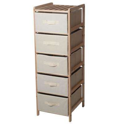5-Tier Wooden Shelving Unit with Collapsible Fabric Drawers
