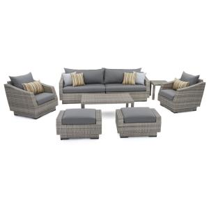 Cannes 8 Piece Patio Sofa And Club Chair Seating Group With Charcoal Grey  Cushions