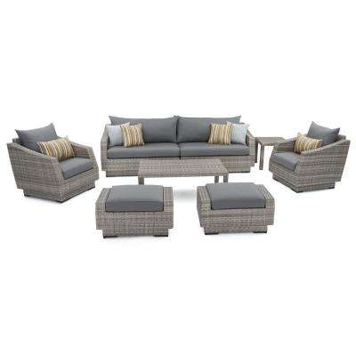 Cannes 8-Piece Patio Sofa and Club Chair Seating Group with Charcoal Grey Cushions