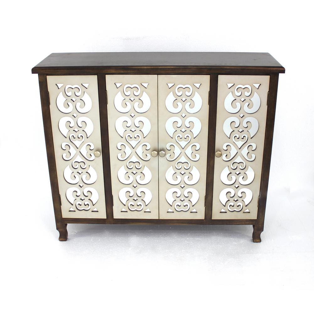 Undefined Dark Brown Wood Mirror 4 Door Storage Cabinet