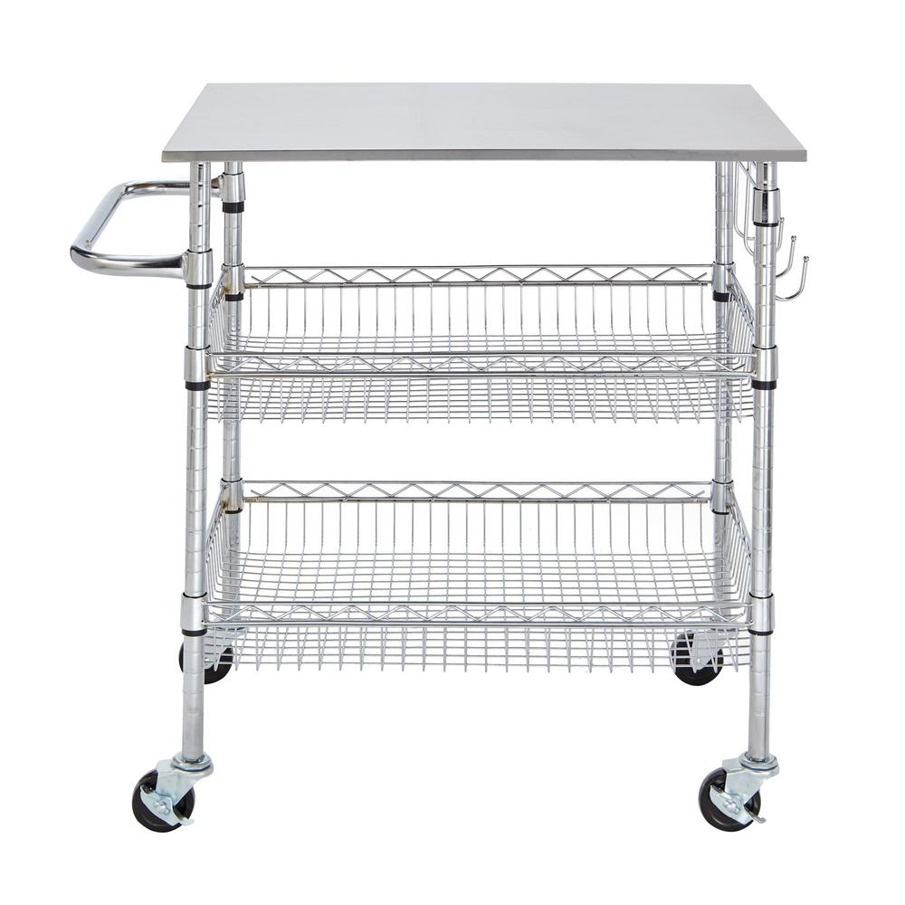 Stylewell Gatefield Chrome Large Kitchen Cart With Stainless Steel Top