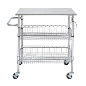 StyleWell Gatefield Chrome Large Kitchen Cart with Stainless ...