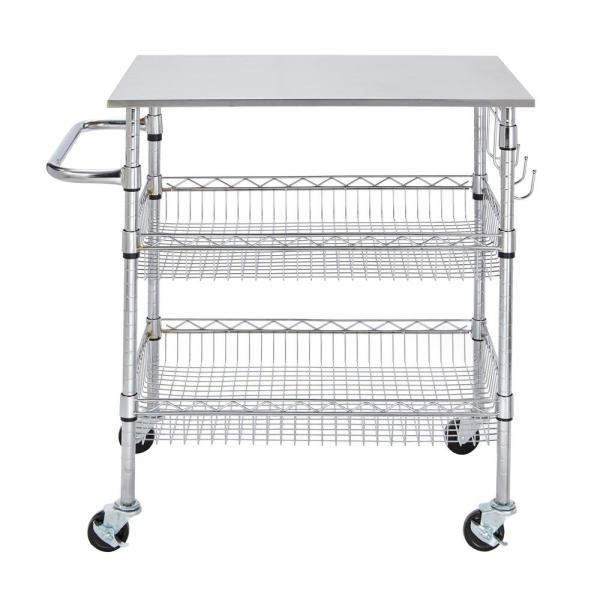 Stainless Kitchen Cart: StyleWell Gatefield Chrome Large Kitchen Cart With