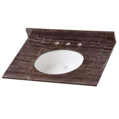 31 in. Stone Effects Vanity Top in Coffee with White Sink