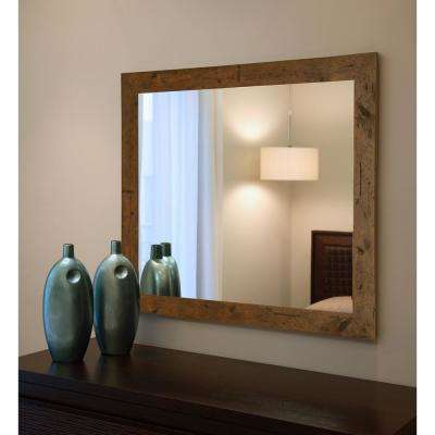 48 in. x 36 in. Rustic Light Walnut Non Beveled Vanity Wall Mirror
