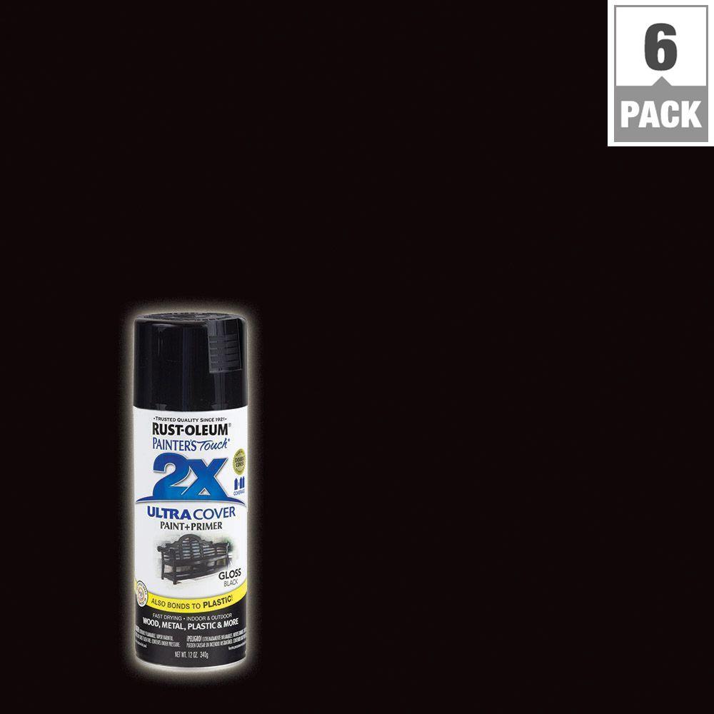 12 oz. Black Gloss General Purpose Spray Paint (6-Pack)