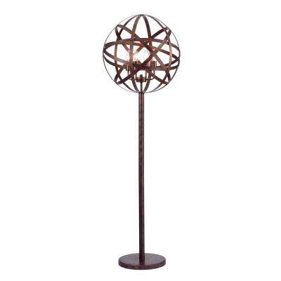 50-Inch Globen Aged Bronze Floor Lamp with  Strap Band Globe Shade