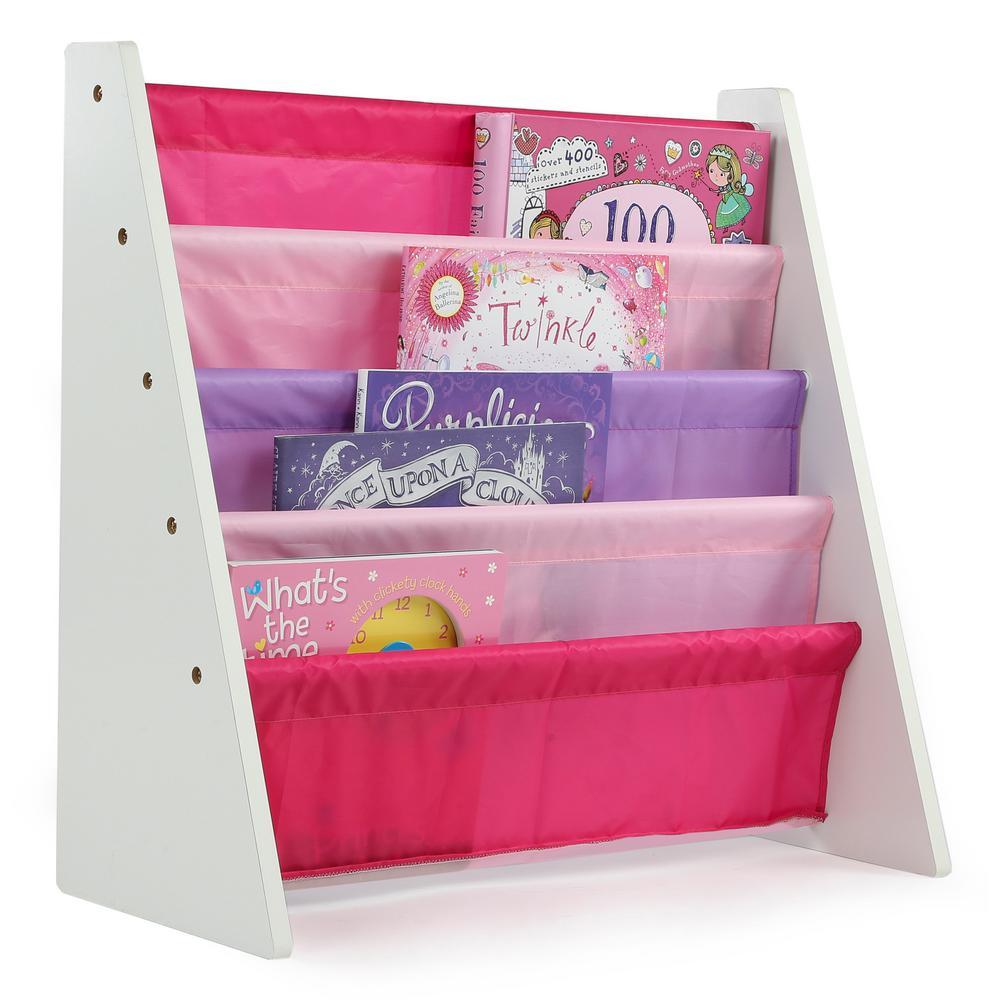 Tot Tutors Friends Collection White/Pink/Purple Kids Book Rack Storage Bookshelf