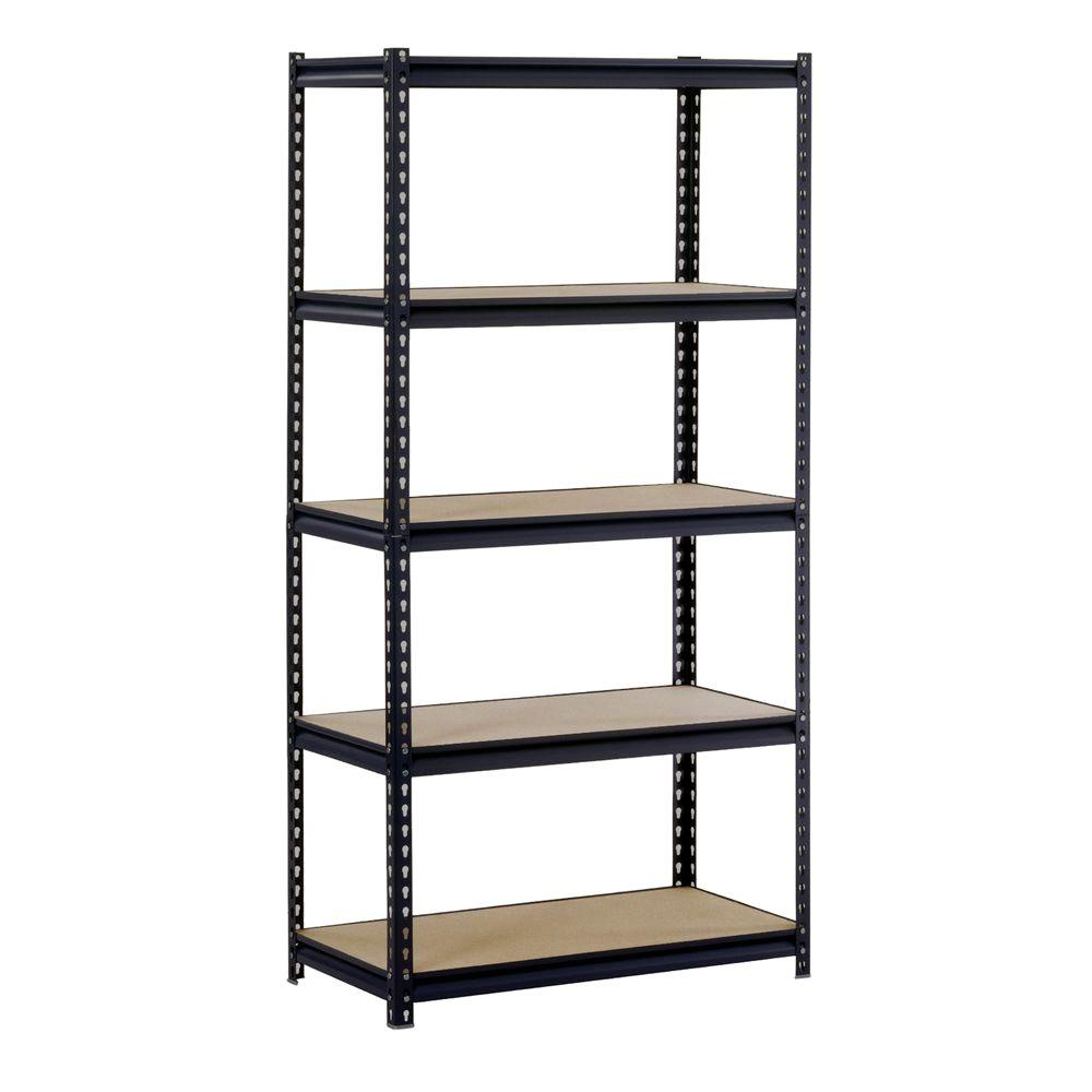 Edsal 72 in. H x 48 in. W x 18 in. D 5-Shelf Steel Shelving Unit in ...