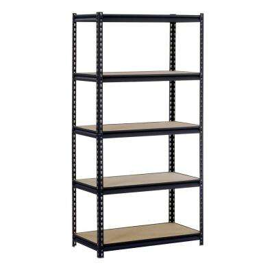 72 in. H x 48 in. W x 18 in. D 5-Shelf Steel Shelving Unit in Black