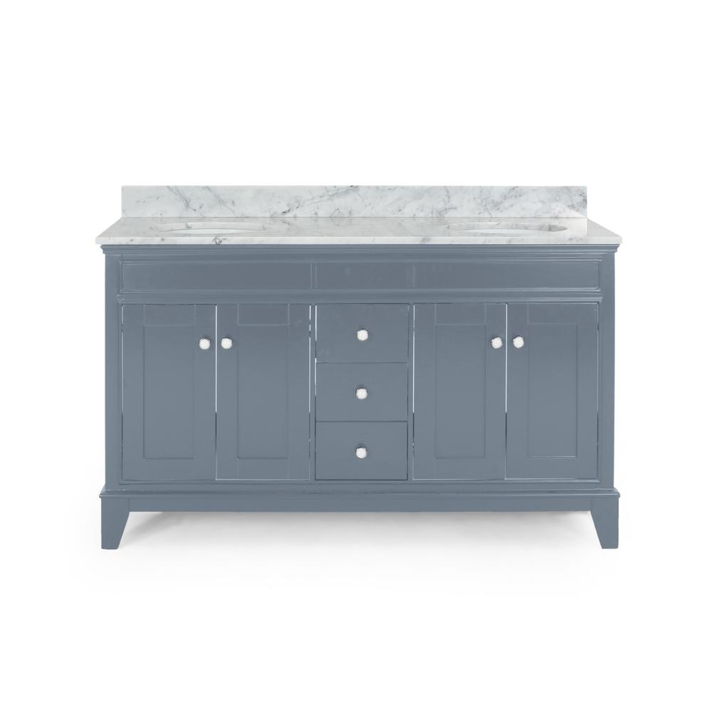 Noble House Finlee 60 in. W x 22 in. D Bath Vanity with Carrara Marble Vanity Top in Grey with White Basin