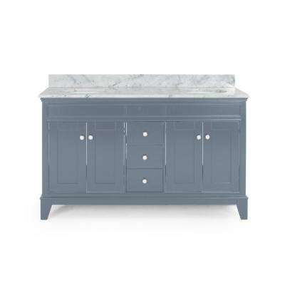 Finlee 60 in. W x 22 in. D Bath Vanity with Carrara Marble Vanity Top in Grey with White Basin