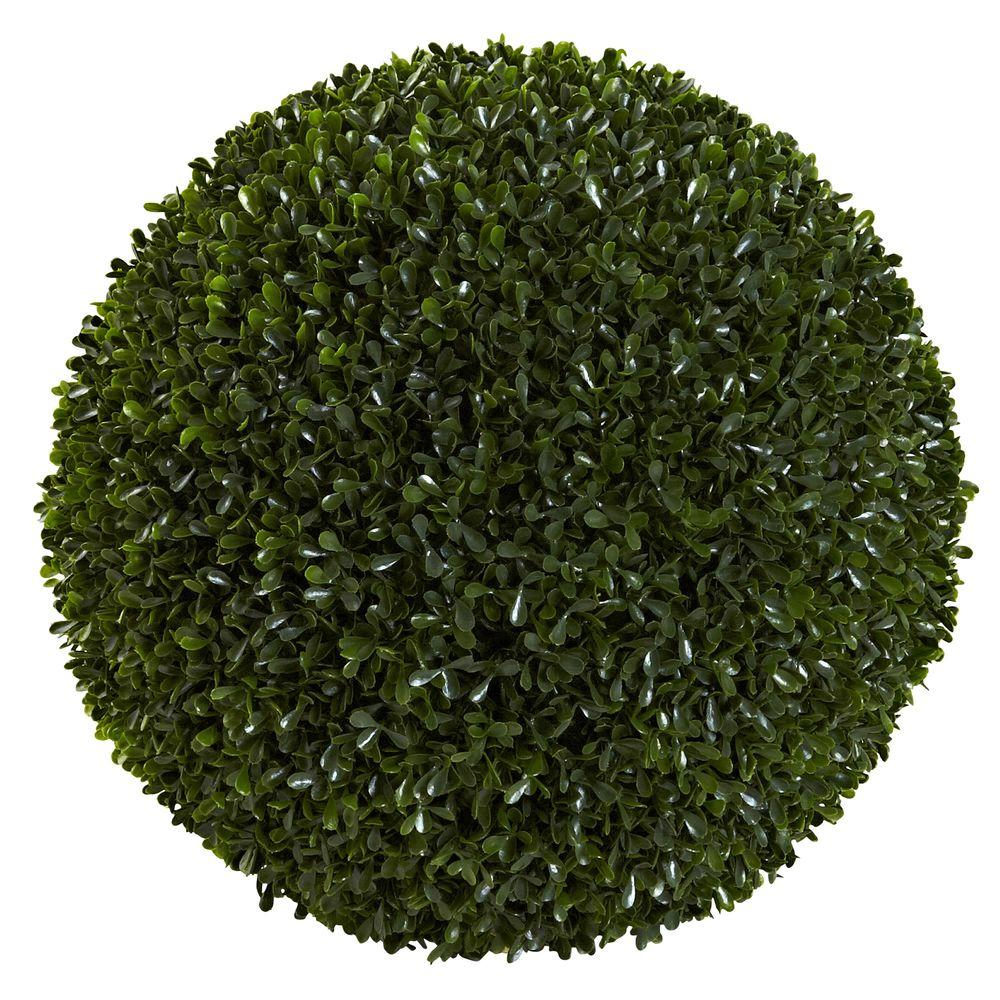 Nearly Natural 14 in. Boxwood Ball, Green