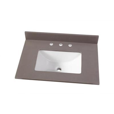 31 in. W x 22 in. D Engineered Marble Vanity Top in Slate Grey with White Single Trough Sink