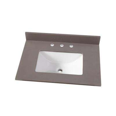 31 in. W x 22 in. D Engineered Marble Vanity Top in Slate Grey with White Single Trough Basin