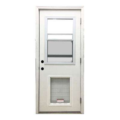 32 in. x 80 in. Classic Clear Vented Half Lite LHOS White Primed Fiberglass Prehung Front Door with SL Pet Door