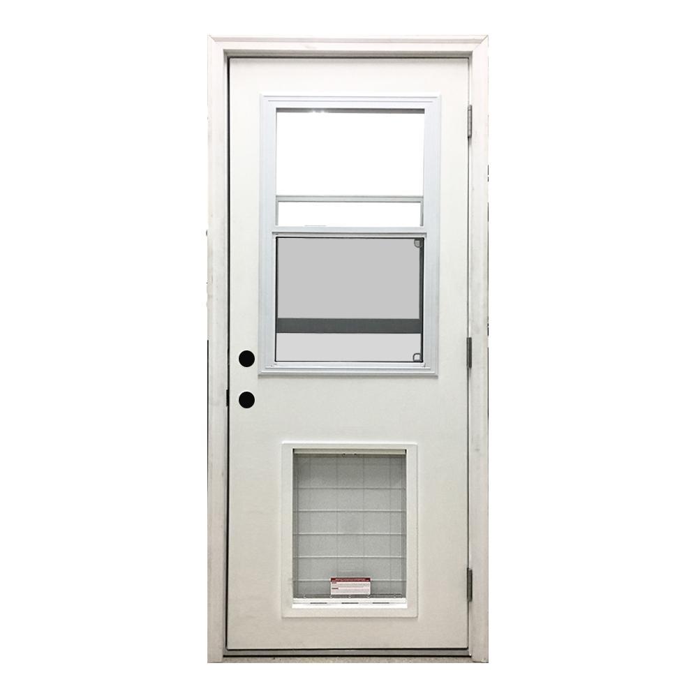 36 in. x 80 in. Classic Clear Vented Half Lite LHOS White Primed Fiberglass Prehung Front Door with SL Pet Door