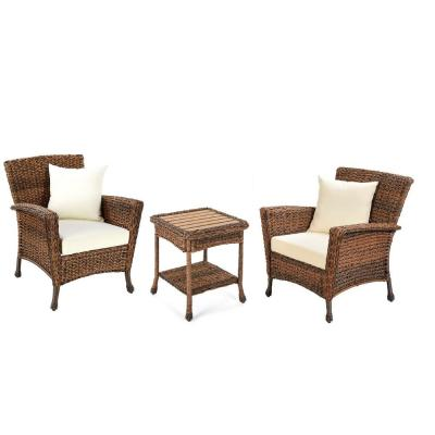 Rustic Brown 3-Piece Wicker Faux Sea Grass Conversation Set with Beige Cushions